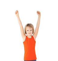 girl with raised hands