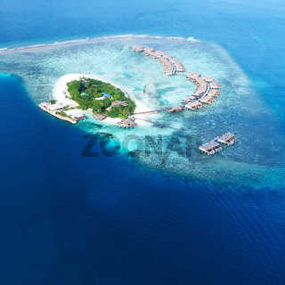 Atolls and islands in Maldives from aerial view