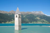 sunken Church at Lake Reschensee,South Tyrol