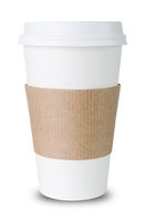Paper cup with sleeve on white background