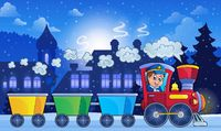 Winter town with train - picture illustration.