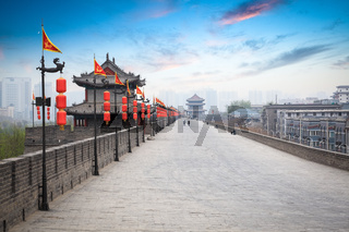 beautiful ancient city of xian at dusk