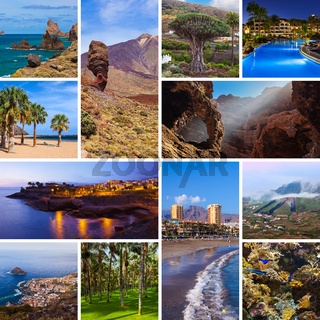 Collage of Tenerife Canary images