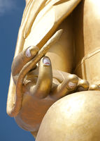 Buddha`s hand with lotus flower. Golden Buddha statue in Tibetan Monastery. India