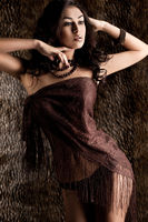 elegant fashionable woman in brown cloth
