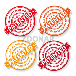 All Rights Reserved Patendet Stamp Labels