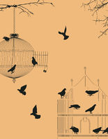 Birds and birdcages postcard 3