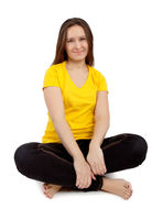 woman sitting with crossed legs