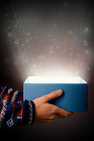 Glow with stars from an open gift box