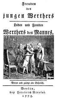 Satire on Goethe's Werther, Christoph Friedrich Nicolai, 1733 - 1811, a German writer and bookseller
