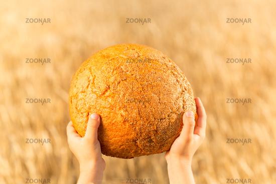 Homemade bread in hands