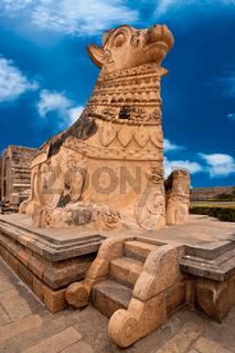 Big statue of Nandi Bull in front of Hindu Gangaikonda Cholapuram Temple. In Hinduism Nandi is a Shiva vehicle. South Indian architecture. India, Tamil Nadu, Thanjavur (Trichy)  Stock Photo: