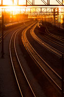 railroad station at sunset