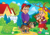Children with pets theme 2 - picture illustration.