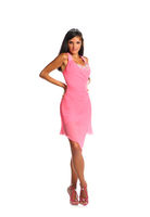 Bright picture of lovely woman in elegant pink dress