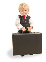 Boy in Vest Suit and Tie with Briefcase On White