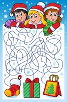 Maze 10 with Christmas theme - picture illustration.