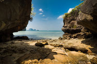Ocean landscape under blue sky at Krabi, Thailand