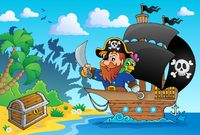 Pirate ship theme image 1 - picture illustration.
