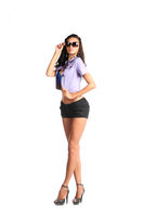 Full length shot of sexy woman in sexy shorts, isolated on white background