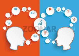 Circle Cycle 2 Heads Blue Orange Infographic PiAd
