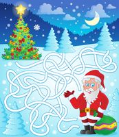 Maze 11 with Santa Claus - picture illustration.