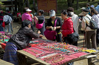 Tourists buying souvenirs, Tiger's Nest Monastery,