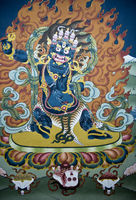 Blue demon in flames, Thimphu, Bhutan