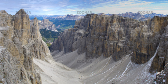 panorama landscape at dolomites in alps mountains
