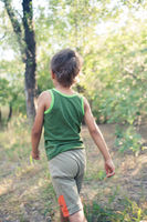 Boy walking in a forest
