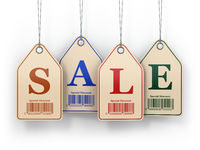 Sale tags on white isolated background.