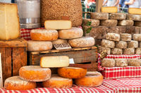 Cheese displayed at a french market
