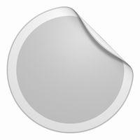 Aufkleber rund - Ecke gebogen grau