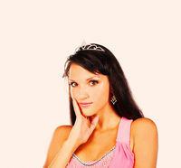 Bright picture of lovely woman in elegant princess crown on head