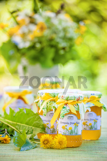 Glasses with dandelion flower jelly