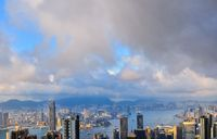 atop Victoria Peak Sunset over Victoria Harbor as viewed