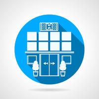 Blue vector icon for hospital facade