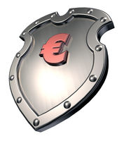 eurosymbol auf metallschild - 3d illustration