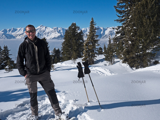 Climber before Alps