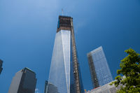 Hochhaus-Baustelle, Bauarbeiten an Wolkenkratzer, One World Trade Center, Freedom Tower, 9-11 Memorial, Ground Zero, New York City, USA, Nordamerika, Amerika