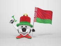 Soccer character fan supporting Belarus