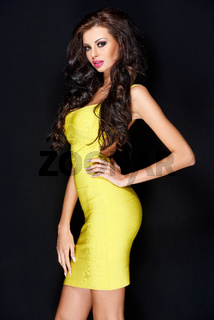 Sensual Pretty Long Hair Woman in Yellow Dress