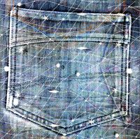 Old jeans background with hole in the style scrapbook