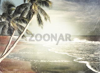 Vintage Tropical Beach Background