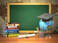 School education concept. Mortar board, blackboard, textbooks, globe and pencils.