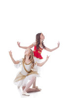 Duo of young artistic ballet dancers