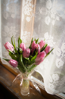 Beautiful flowers in vase near window