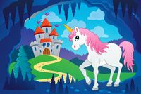 Cute unicorn in fairy tale cave - picture illustration.