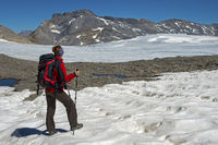 Hiker on the Plaine Morte plateau glacier