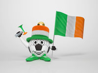Soccer character fan supporting Ireland